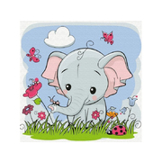 Картина по номерам Molly KH0462  «Слоненок на полянке» 20*20 см