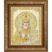 Ткань для вышивания бисером Благовест ЖС-4006 «Святой Николай в жемчуге» 25*25 см