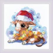 Набор для вышивания Риолис №1898 «Новогодний бычок» 25*25 см