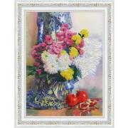 Набор для вышивания Золотое руно РТ-159 «Хризантемы и гранаты» 34*25.5 см