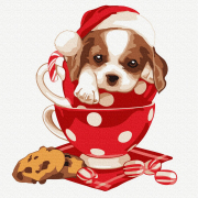 Картина по номерам Molly KH0911  «Новогодний щенок» 20*20 см