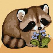 Картина по номерам Molly KH0912  «Енотик с цветком» 20*20 см