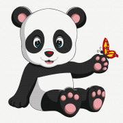 Картина по номерам Molly KH0914  «Панда с бабочкой» 20*20 см
