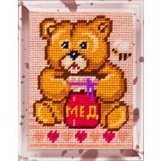 Набор для вышивания с пряжей BAMBINI  X2206 «Медвежонок с медом» 15*20 см