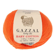 Пряжа Бэби Коттон (Baby Cotton Gazzal  50 г / 165 м 3419 морковный