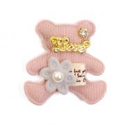 Украшение текстильное LA307  Мишка 4*4,5 см розовый