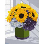 Картина по номерам Molly КН0787 «Букет подсолнухов с гортензией» 15*20 см