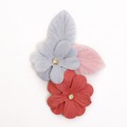 Украшение текстильное LA305  Цветы 10,5*7 см красный/голубой