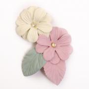 Украшение текстильное LA305  Цветы 10,5*7 см белый/розовый