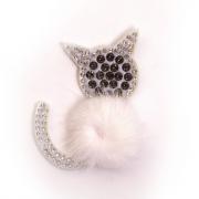 Украшение текстильное LA246 «Кошка» 5*6 см белый
