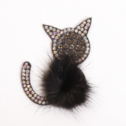 Украшение текстильное LA246 «Кошка» 5*6 см черный