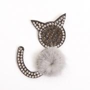 Украшение текстильное LA246 «Кошка» 5*6 см серый