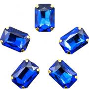 Стразы пришивные 10*14 мм в цапах/золото 3488496 (уп 5 шт) синий