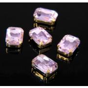 Стразы пришивные 10*14 мм в цапах/золото 3488499 (уп 5 шт) розовый