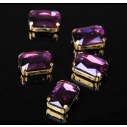 Стразы пришивные 10*14 мм в цапах/золото 3488501 (уп 5 шт) фиолетовый