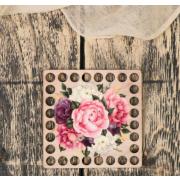 Заготовка для декора 4624104 «Квадрат. Цветы» донышко дерев. 10*10 см