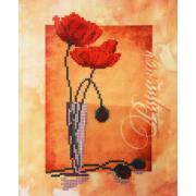 Ткань с рисунком для вышивания бисером «Наследие  НДА4-004 Маки» 20*25 см