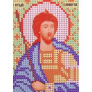 Ткань для вышивания бисером А6 иконы БИС Ж-068 «Ст. Никита» 7,5*10,5 см
