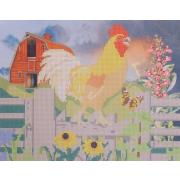 Ткань для вышивания бисером А3 КМЧ-3469 «Утро в деревне» 25*31 см