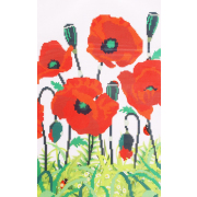 Ткань для вышивания бисером А3 КМЧ-3464 «Маки в цвету» 25*31 см