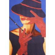 Ткань для вышивания бисером А3 КМЧ-3474 «Дама в шляпке» 25*37 см