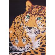 Ткань для вышивания бисером А3 КМЧ-3482 «Леопард с детенышем» 25*37 см