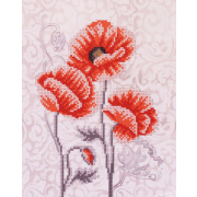 Ткань для вышивания бисером Благовест К-4030 Маки триптих ч3 20*25 см