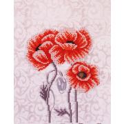 Ткань для вышивания бисером Благовест К-4029 Маки триптих ч2 20*25 см