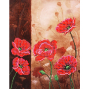 Ткань для вышивания бисером Благовест К-4008 Маки  20*25 см