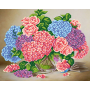 Ткань для вышивания бисером М.П.Студия Г-058 «Букет в вазе» 40*50 см