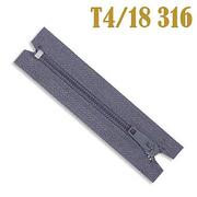 Молния Т4 спираль брючн. п/авт. 18 см 316 серо-гол.