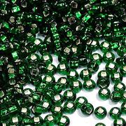 Бисер Preciosa Чехия (уп. 10 г) 57060 зеленый с серебр. центром