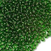 Бисер Preciosa Чехия (уп. 10 г) 57120 зеленый с серебр. центром