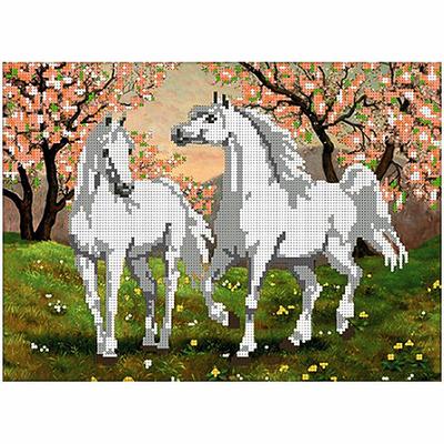 Набор для вышивания бисером «Русская сказка АМН-012 Белые лошади» 30*22 см в интернет-магазине Швейпрофи.рф