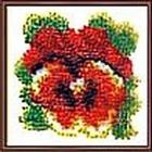 Набор для вышивания бисером Искусница №008(Б) «Анютины глазки» 7*7 см
