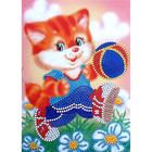Набор для вышивания бисером К. КВ-028 «Котик с мячом» 16*20 см