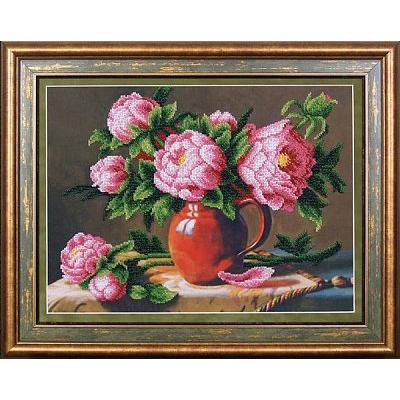 Набор для вышивания бисером МК Б-054 «Розовые пионы» 38*28,5 см в интернет-магазине Швейпрофи.рф