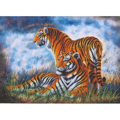 Набор для вышивания бисером МК Б-110 «Туманное утро. Тигры» 46,5*33,5 см в интернет-магазине Швейпрофи.рф