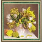 Набор для вышивания Золотое руно РТ-007 «Мимозы и тюльпаны» 28*28 см