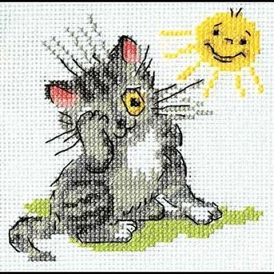 Набор для вышивания Кларт 6-073 «Котенок и солнышко» 11*11 см в интернет-магазине Швейпрофи.рф