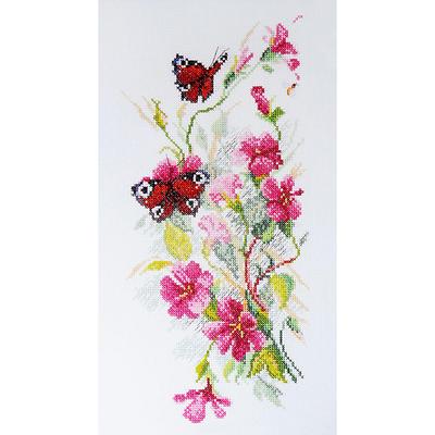 Набор для вышивания М.Искусница 04.011.02 «Цветы и бабочки» 15*31 см в интернет-магазине Швейпрофи.рф