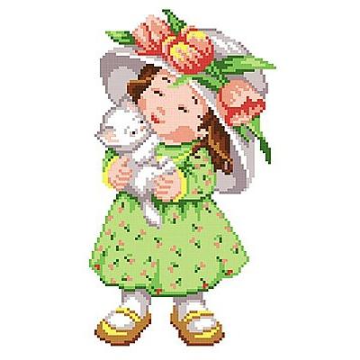 Набор для вышивания М.П.Студия КH-380 «Девочка с котенком» 21*30/24*15 см в интернет-магазине Швейпрофи.рф