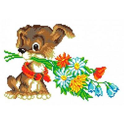 Набор для вышивания М.П.Студия КH-399 «Собачка с букетом» 30*21 см в интернет-магазине Швейпрофи.рф