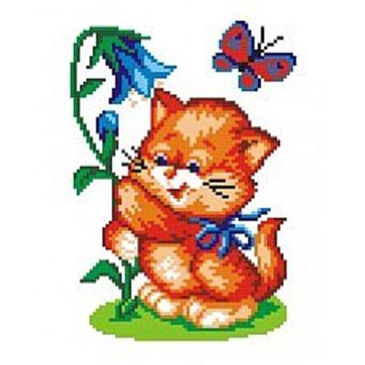 Набор для вышивания М.П.Студия КH-400 «Кот с колокольчиком» 16*20 см в интернет-магазине Швейпрофи.рф