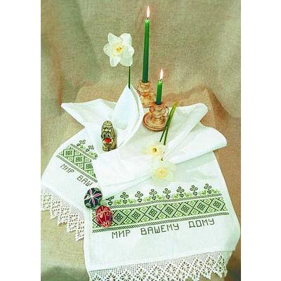 Набор для вышивания Овен №004 Рушник «Мир Вашему дому» 40*160 см в интернет-магазине Швейпрофи.рф