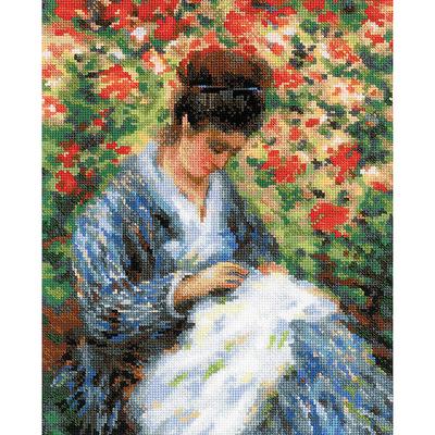 Набор для вышивания Риолис №100/051 «Мадам Моне за вышивкой» 24*30 см в интернет-магазине Швейпрофи.рф