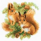 Набор для вышивания Риолис №1491 «Белочки» 25*25 см