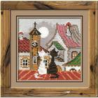 Набор для вышивания Риолис №611 «Город и кошки. Весна» 13*13 см
