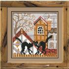 Набор для вышивания Риолис №613 «Город и кошки. Осень» 13*13 см