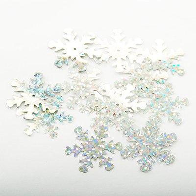 Пайетки «Снежинки» крупн. (уп. 5 г) серебро в интернет-магазине Швейпрофи.рф